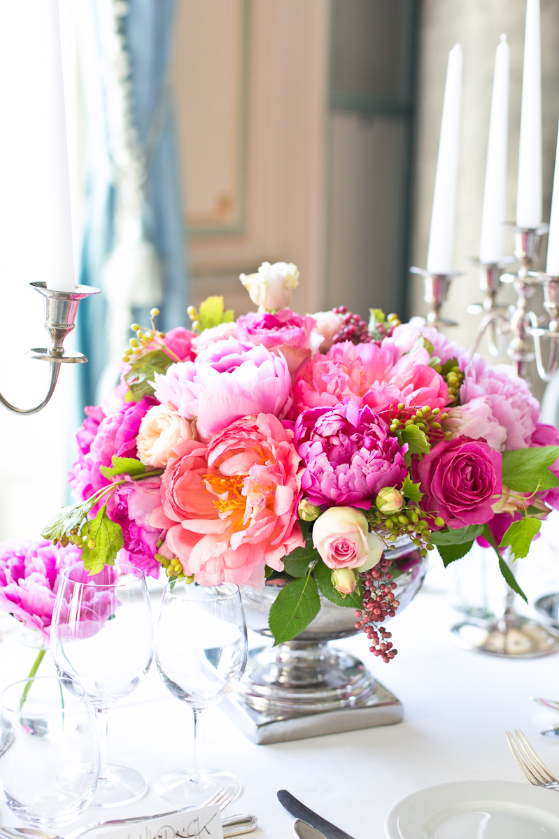 Pink Purple And Cream Rose And Peony Reception Centerpiece