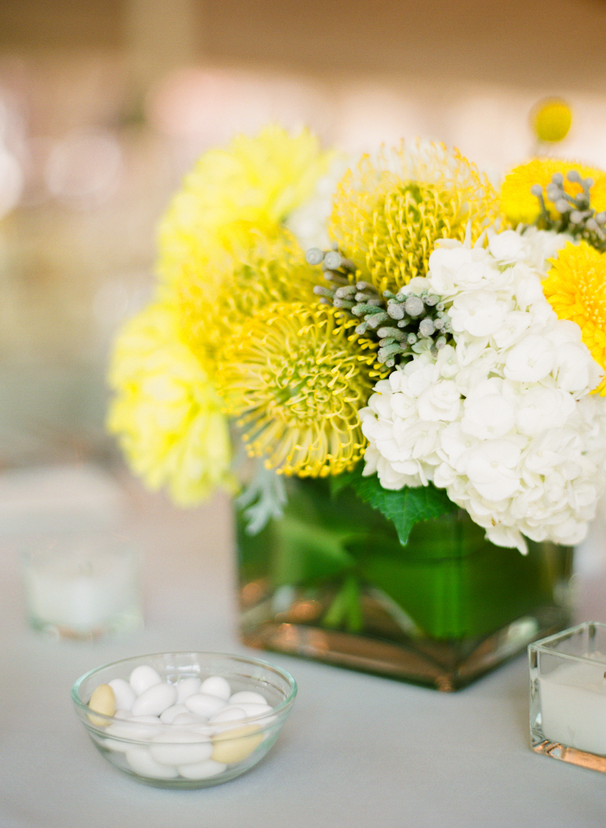 Yellow and White Reception Centerpiece in Square Glass Vase  Elizabeth Anne Designs The