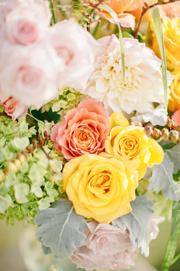 Peach Pink and Green Flower Arrangement  Elizabeth Anne