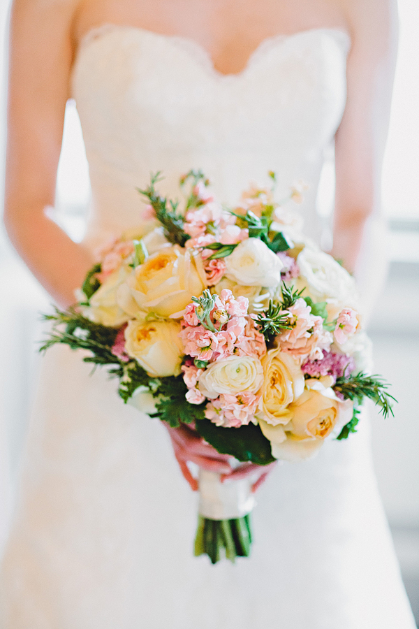 Yellow and Pink Bridal Bouquet  Elizabeth Anne Designs The Wedding Blog