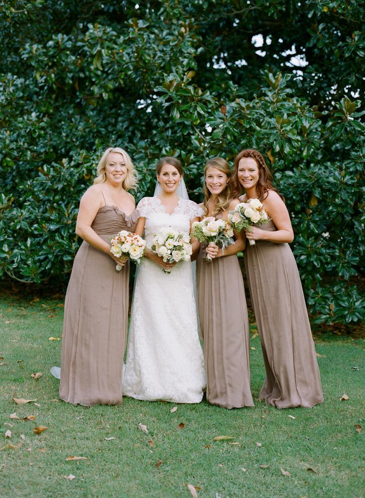 Floor Length Taupe Bridesmaids Dresses  Elizabeth Anne