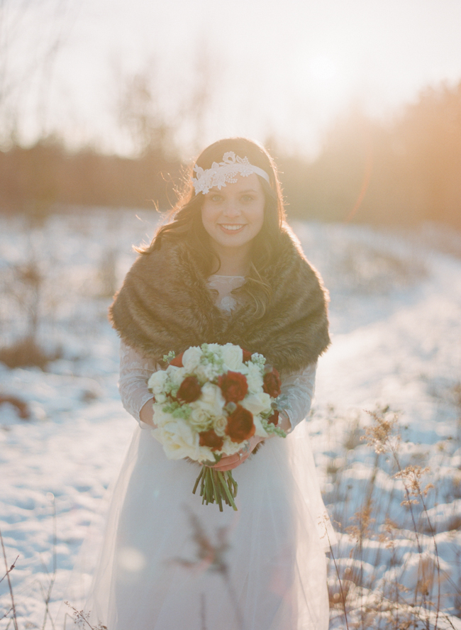 Fur Stole Over Wedding Gown  Elizabeth Anne Designs The
