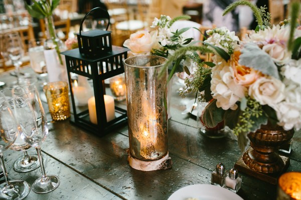 Mercury Glass And Lanterns Reception Table Decor