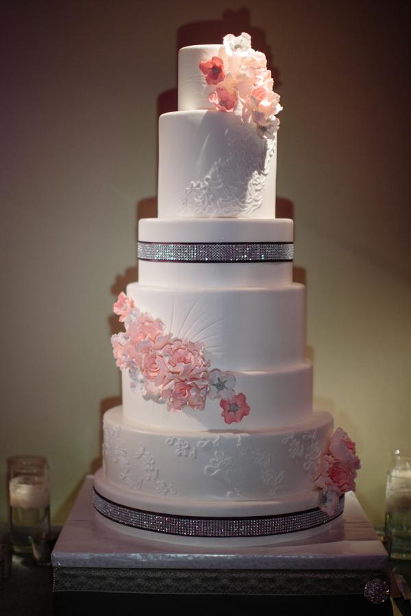 Modern Wedding Cake With Cascading Flowers  Elizabeth