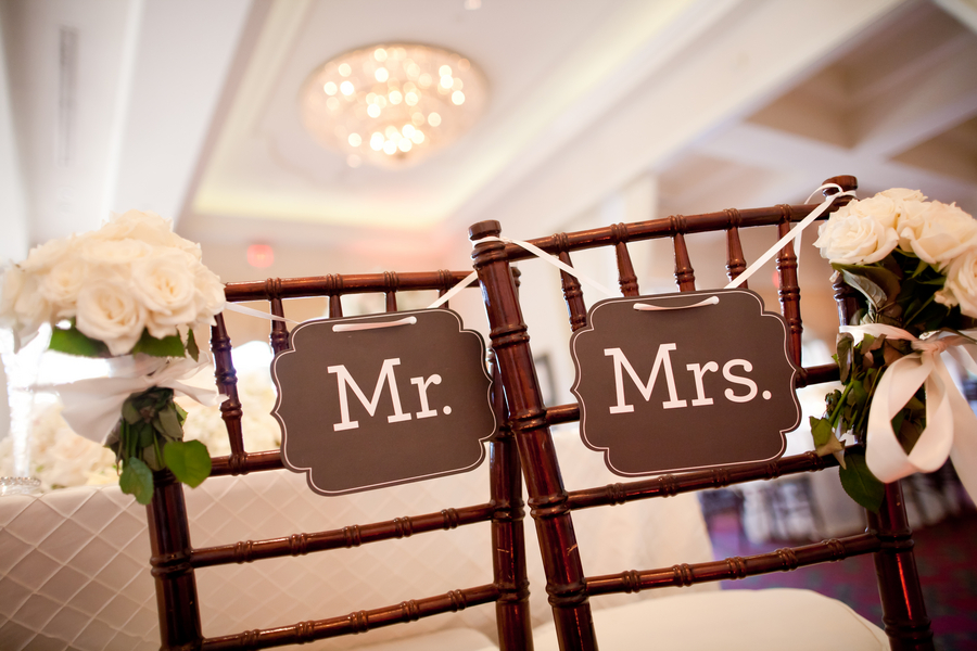 Mr and Mrs Reception Chair Signs  Elizabeth Anne Designs