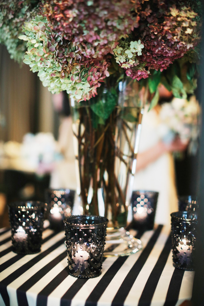 Navy And White Striped Tablecloth Reception Decor Ideas