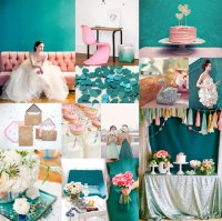 Teal Pink Silver Wedding Colors