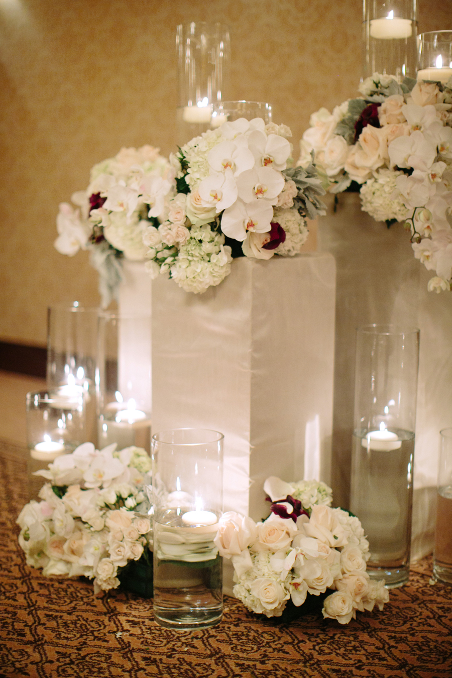 White Orchid and Hydrangea Altar Decor  Elizabeth Anne