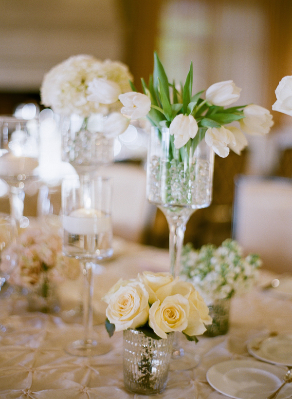 White Flowers In Glass Vases Reception Decor Ideas