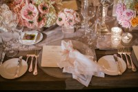 Pale Pink White and Gold Reception Table Setting ...