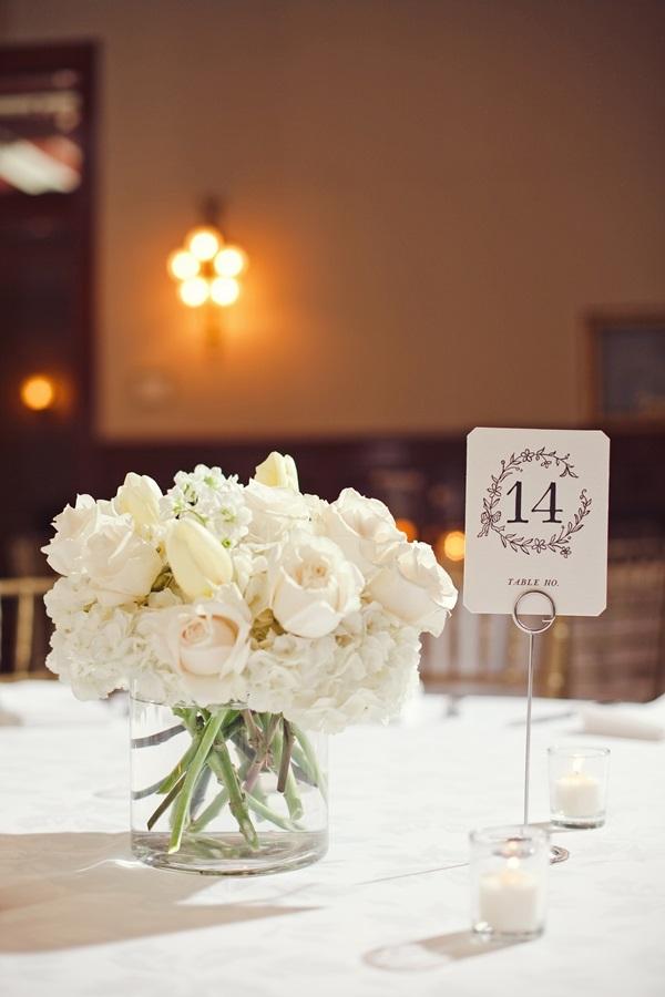 White Rose Tulip and Hydrangea Arrangement  Elizabeth Anne Designs The Wedding Blog