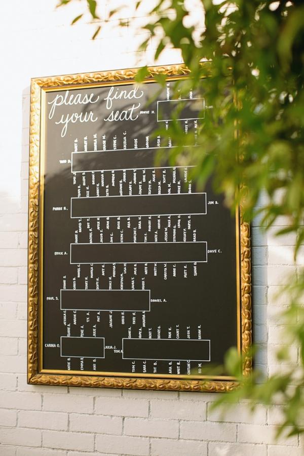 Framed Glass Chalk Reception Seating Chart  Elizabeth Anne Designs The Wedding Blog