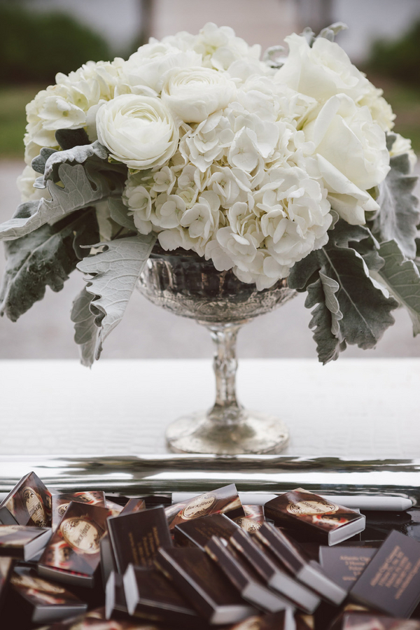 White Flowers in Silver Vase  Elizabeth Anne Designs The Wedding Blog