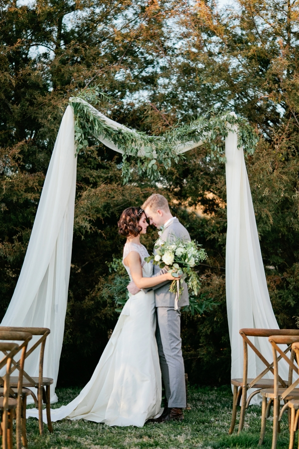 Simple Wedding Arbor With Greenery Elizabeth Anne