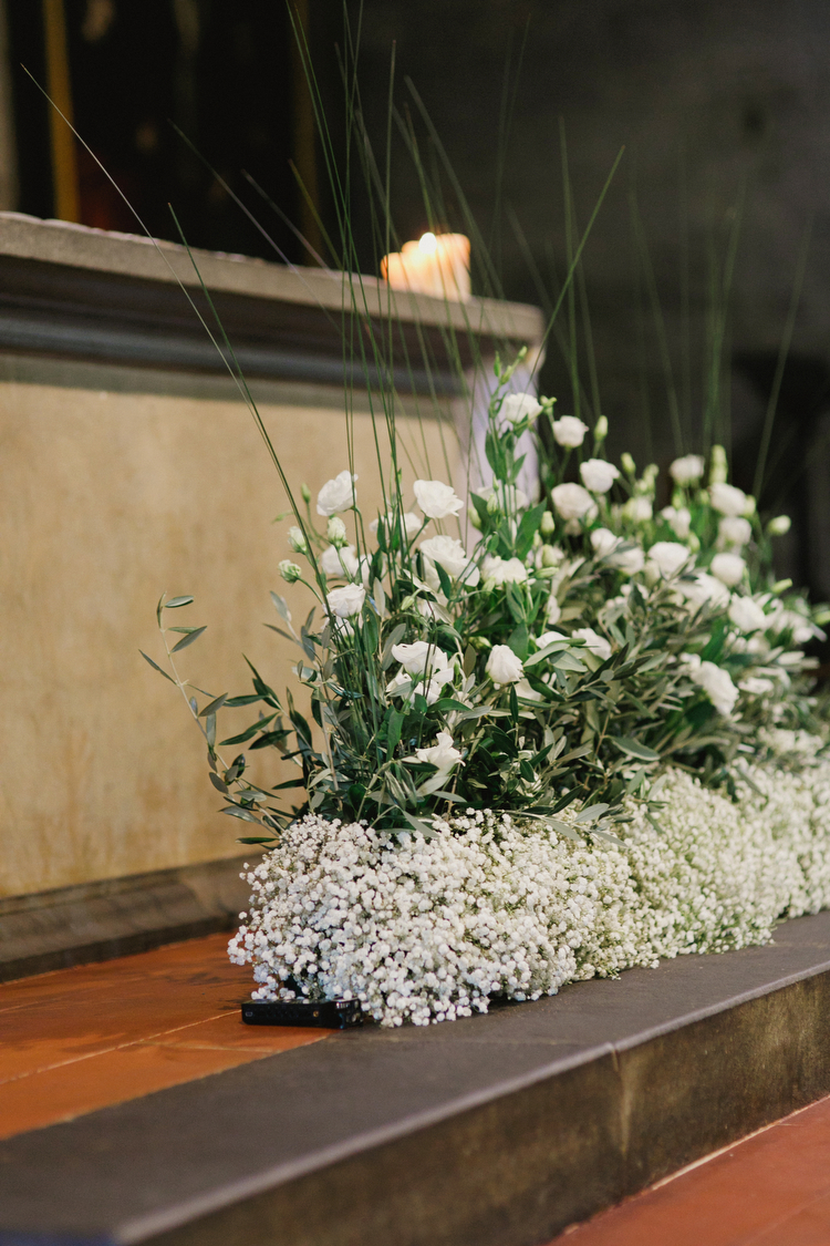 Babys Breath And Rose Altar Arrangement Elizabeth Anne Designs The Wedding Blog