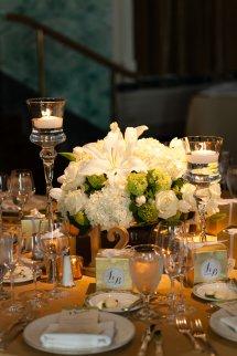 Hydrangea And Pillar Candle Centerpiece - Elizabeth Anne