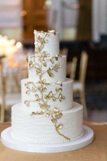 Wedding Cake With Gold Leaf - Elizabeth Anne Design