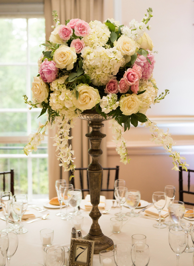 Rose and Hydrangea Topiary Style Centerpiece  Elizabeth Anne Designs The Wedding Blog