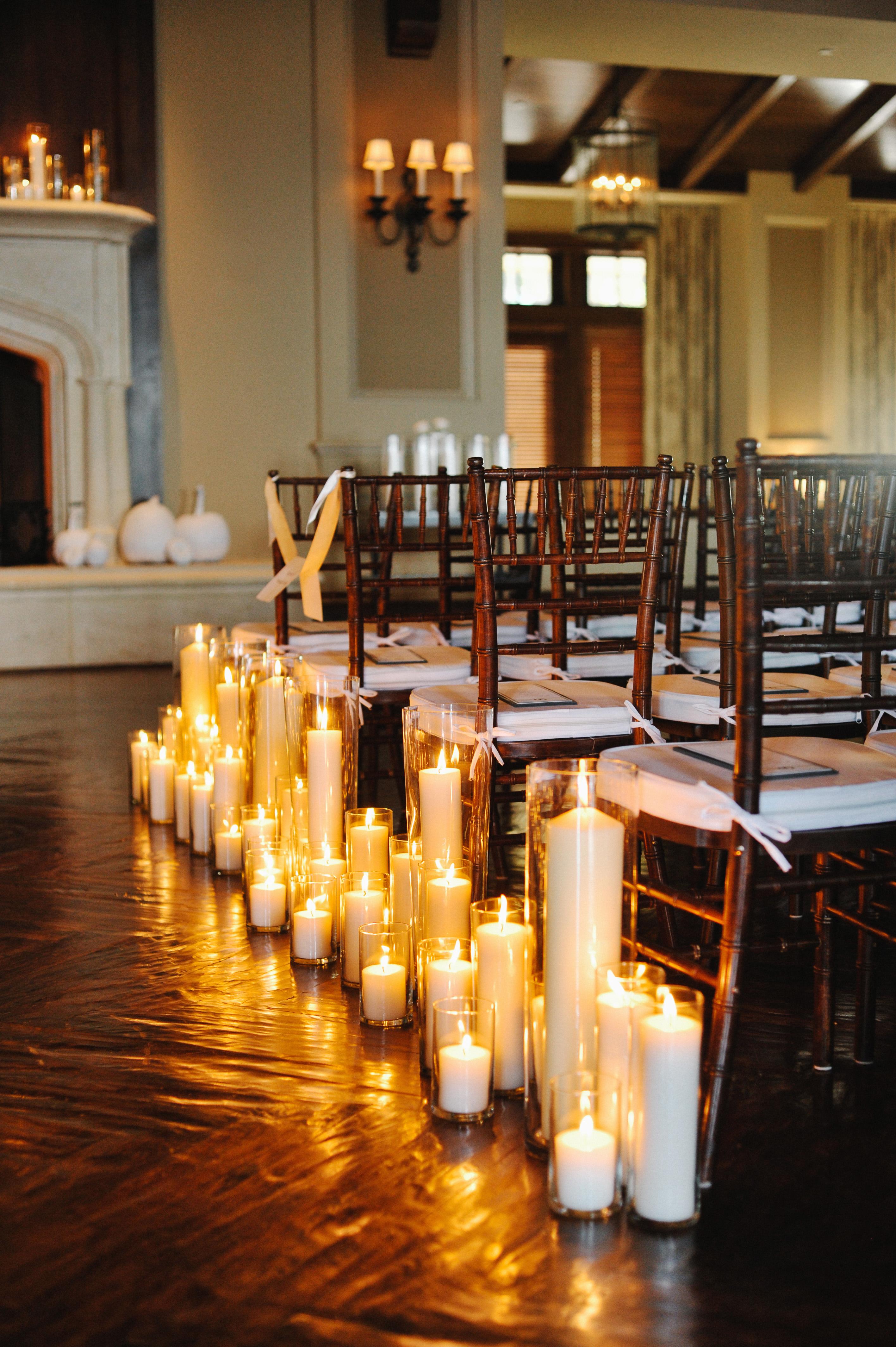 Pillar Candles Along Wedding Aisle  Elizabeth Anne