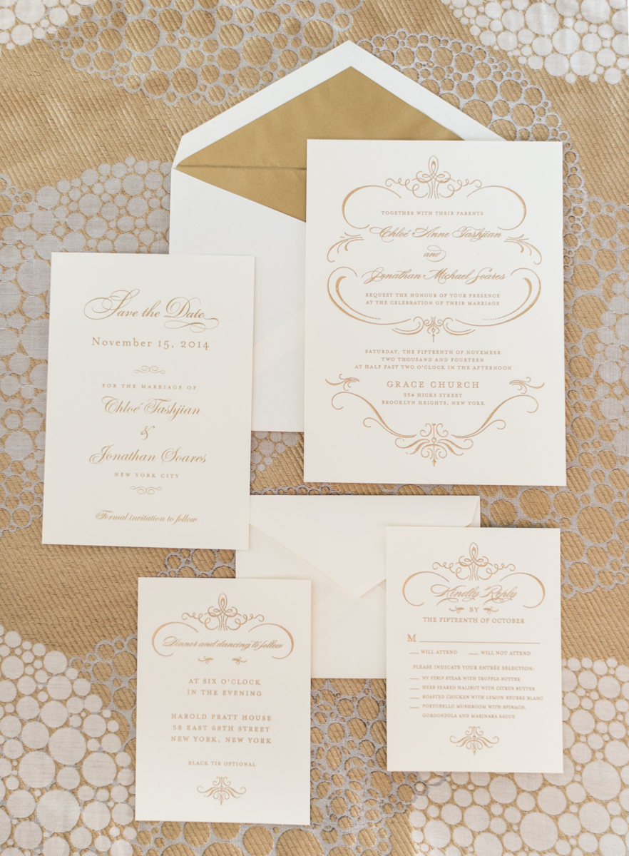 Gold and White Wedding Invitations  Elizabeth Anne