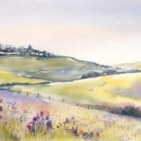 Watercolour landscape in pale green, pink and lavender by Elizabeth Baldin