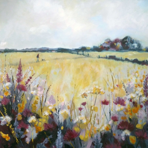 Contemporary landscape with figure walking a dog in fields with mustard, mauve and deep red colour scheme