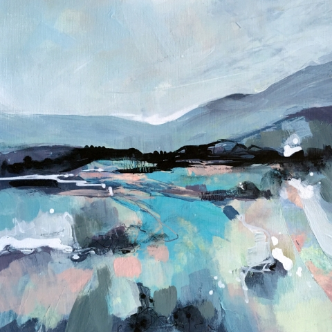 Semi-abstract landscape in turquoise and grey colour scheme by Elizabeth Baldin