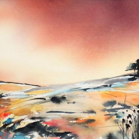 Turquoise, mustard and peach watercolour landscape by Elizabeth Baldin