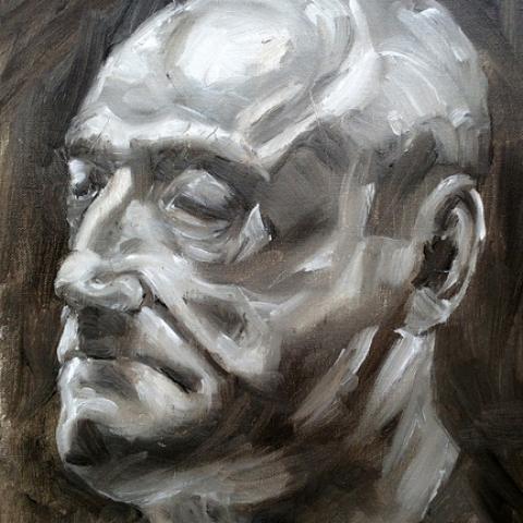 Black and white portrait in oils