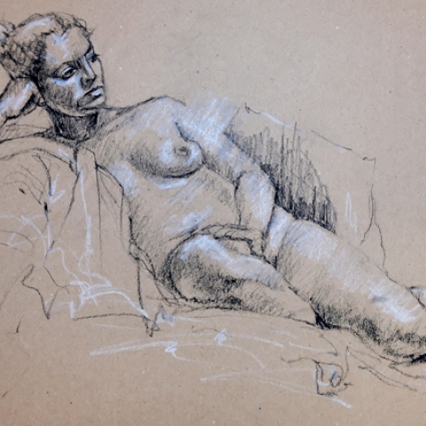 Seated female figure drawing in charcoal and chalk