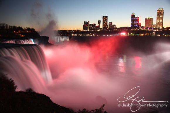 Niagara Falls Illuminated at night