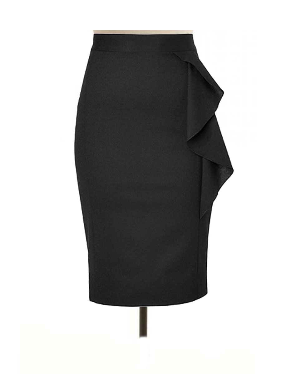 LUX by LuxBox Case black-pencil-skirt-sise-frill-front-view Decision of choosing perfect dress/clothes | Kim Kong