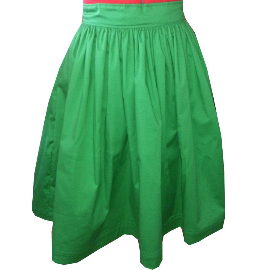 Green Gather Waist Skirt Custom Fit Handmade Fully