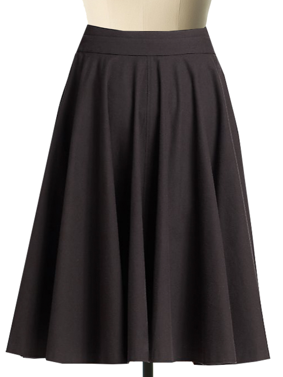 Plus Size Polyester Blend Button Front Circular Skirt