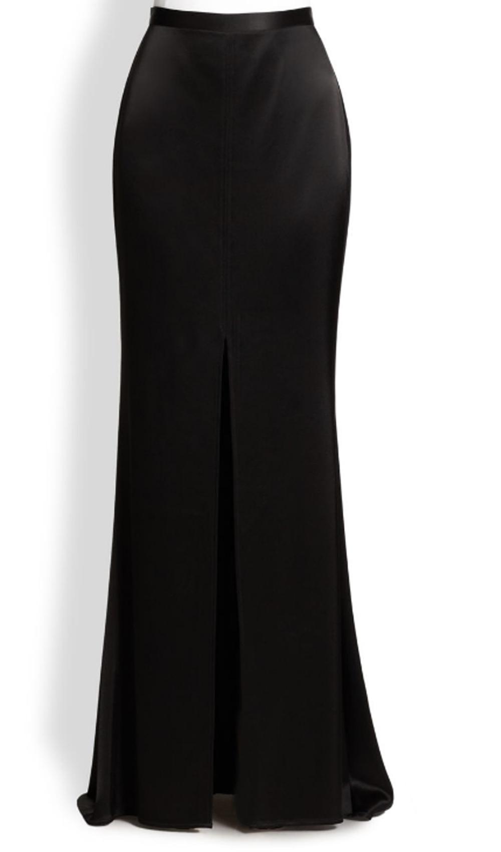 Black Satin Maxi Skirt with open Front Split  Elizabeths Custom Skirts