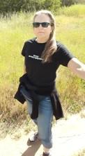 Elizabeth Montague wearing End Speciesism t-shirt in 2021