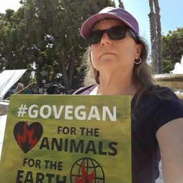 Elizabeth with protest sign during Climate Strike 2019 #GOVEGAN