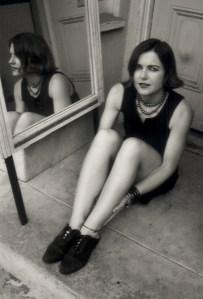 Elizabeth Montague on her front door step in 1994.