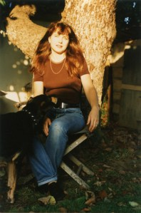 Elizabeth Montague with her dog Ruby at home in Mar Vista, CA