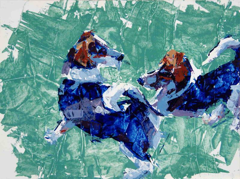 Hound dogs, 2021, a double dog portrait, color and knife painting study, by Elizabeth Lisa Petrulis