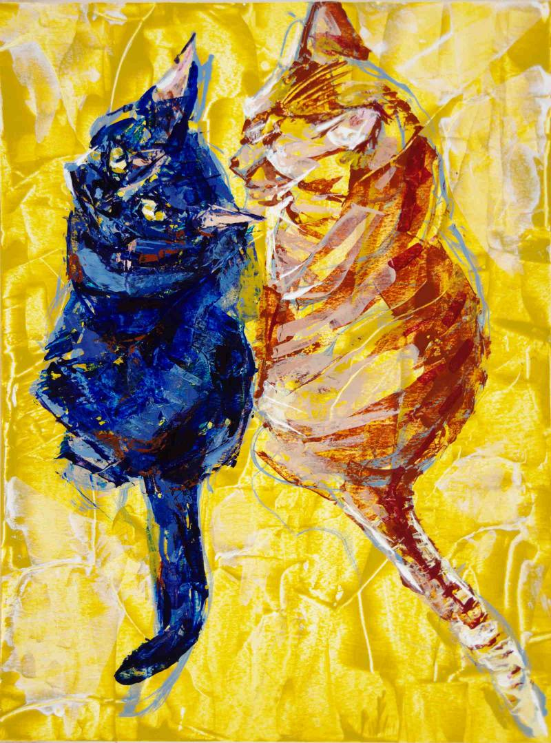 Sniff, 2021, a double cat portrait and color knife painting study, by Elizabeth Lisa Petrulis