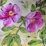 Wild roses acrylic painting