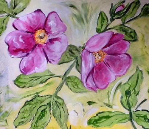 Acrylic wild roses