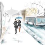 Montreal Street Scene in the Snow, digital art