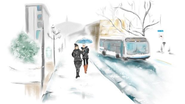 Montreal Street Scene, Snow, Street Scenes - Digital Art