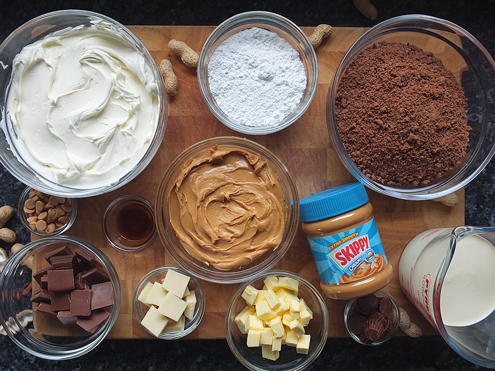 Ingredients for peanut butter cheesecake recipe