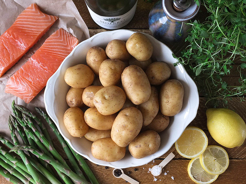 BBQ Salmon Parcels with Cornish New Potatoes ingredients