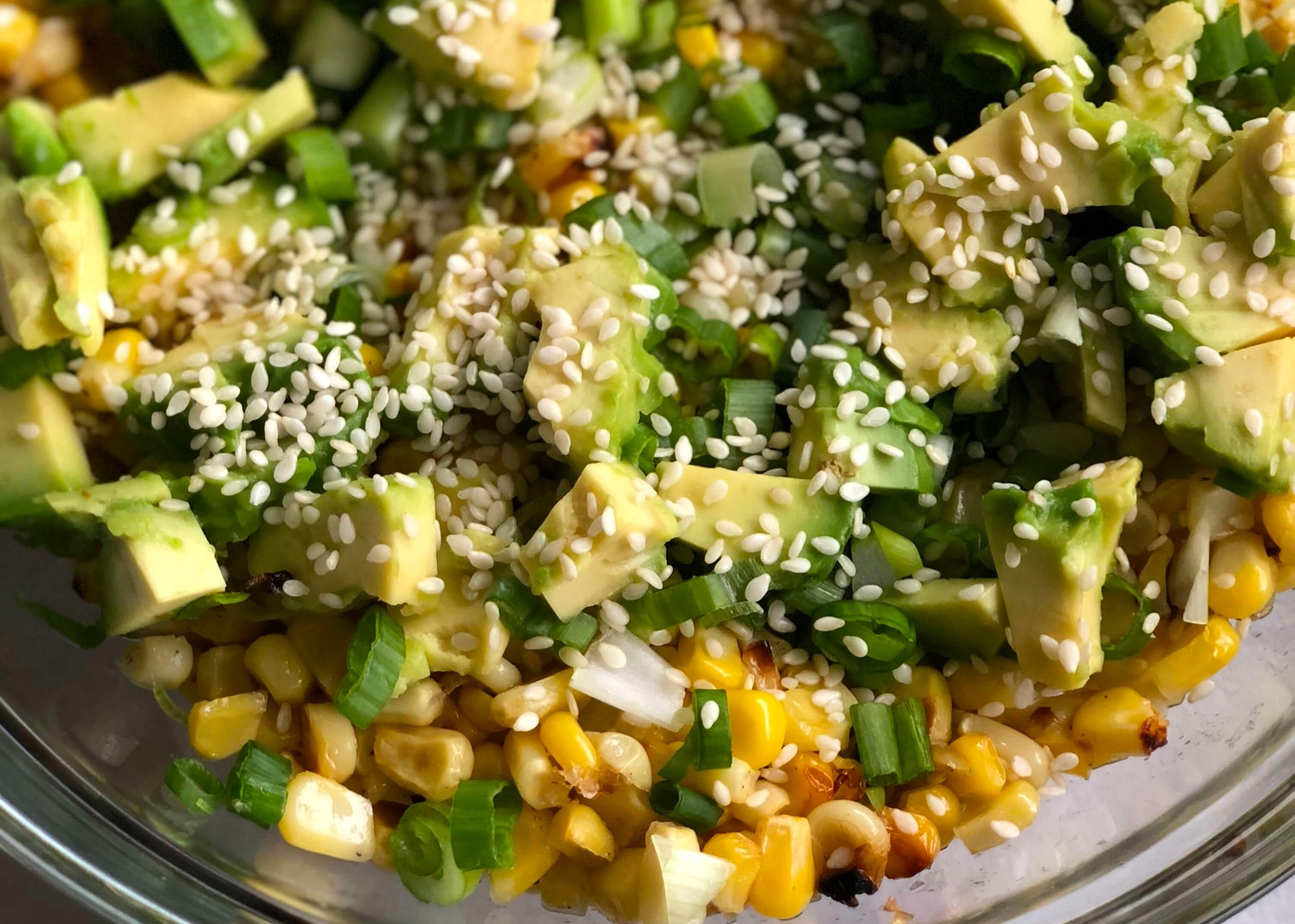 easy healthy recipes, asian salad with corn and avocado, quick and simple meals