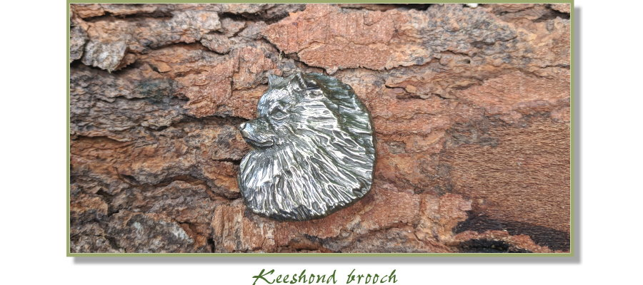 Keeshond head jewelry from Elizabeth Trail Design