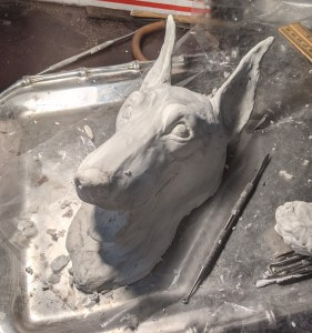 Manchester terrier door knocker in progress